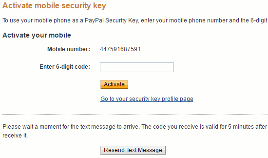 Activate the PayPal security key by entering the code