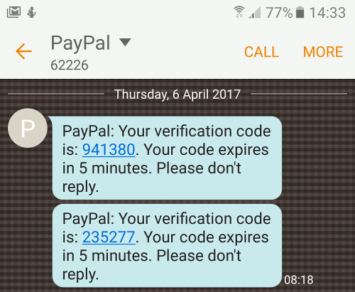 Android phone message from PayPal
