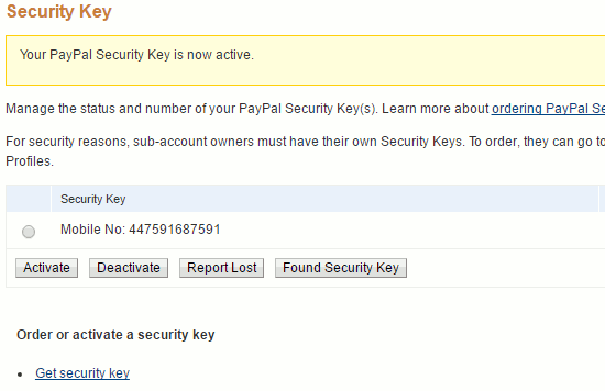 PayPal security keys at the PayPal website