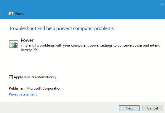 Power Troubleshooter in Windows