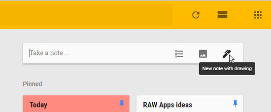 Create a drawing in Google Keep by clicking the pen icon