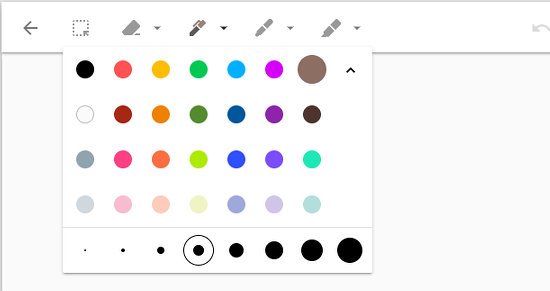 The drawing tools and colour palette in Google Keep drawings