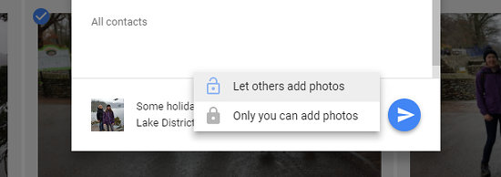 Choose whether others can add photos when sharing albums in Google Photos