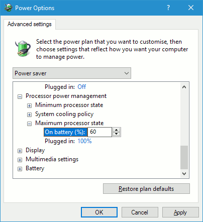 Set the maximum processor state in Windows power settings