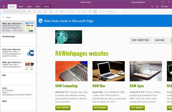 A web page saved in Microsoft OneNote from Edge browser in Windows 10