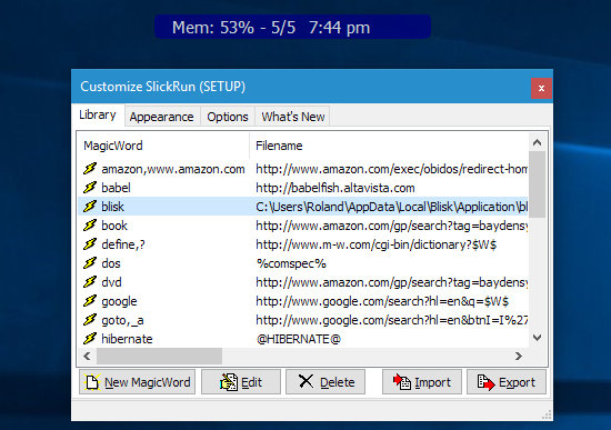 Configure the commands in SlickRun for Windows