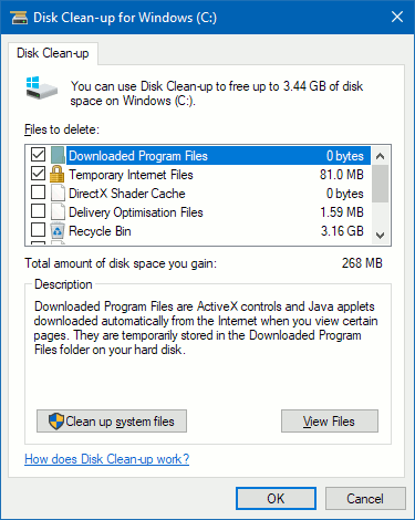 Windows Disk Clean-up tool