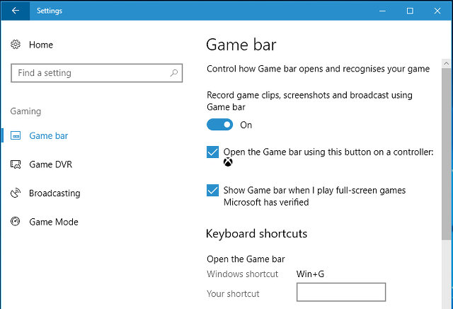 Game bar settings in Windows 10 Creator's Update