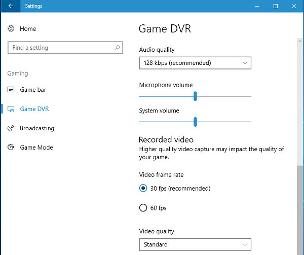 Game DVR settings in Windows 10