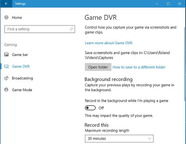 Game DVR settings in Windows 10 Creator's Update