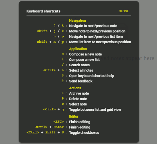 Google Keep keyboard shortcuts