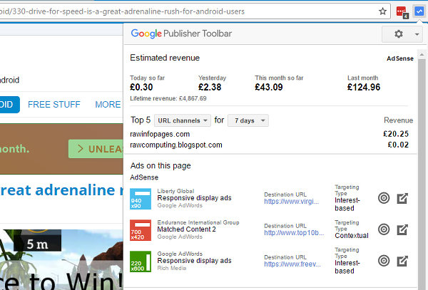 Google Publisher Toolbar showing Google AdSense earnings