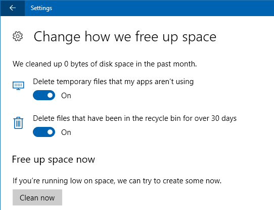 Windows 10 Storage sense settings