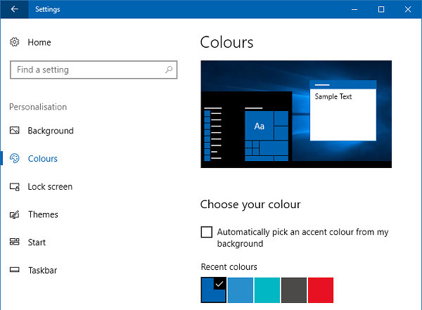 Set the colour for the Start menu, taskbar and Action Centre in Windows 10