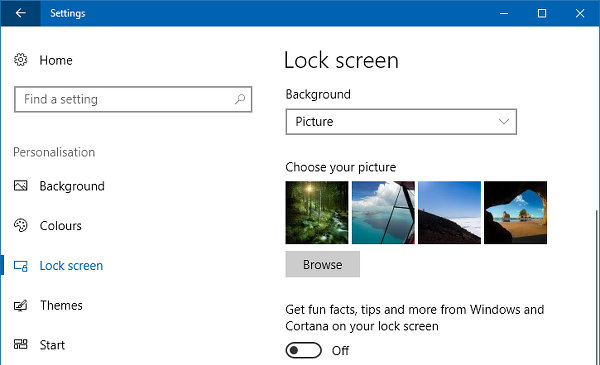 Windows 10 lock screen settings
