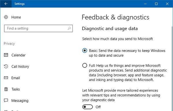 Windows 10 privacy settings - feedback and diagnostics