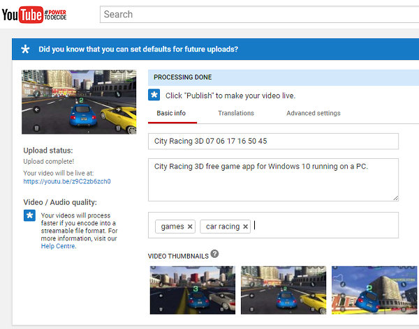 Upload a video clip to YouTube and publish it