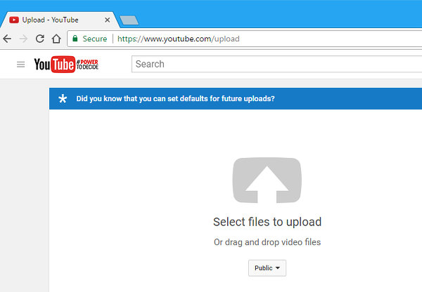 Drag files to the browser window to upload them to YouTube