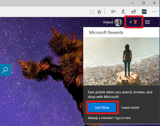 Microsoft Rewards on the Bing home page