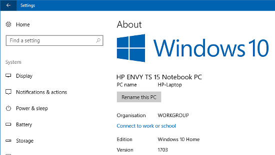View the computer model in the Settings app in Windows 10