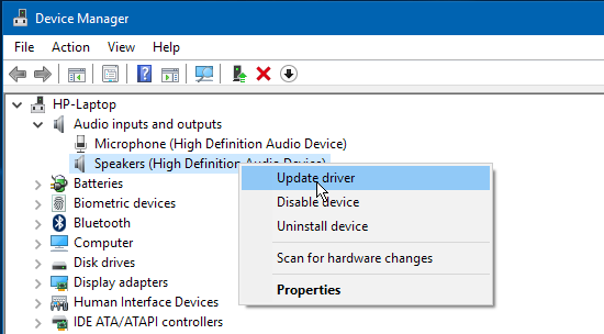 Update Windows drivers using Device Manager