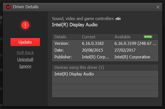 Driver Booster Free downloads and installs updated drivers in Windows