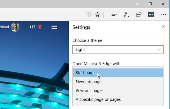 Set the start page in Microsoft Edge browser