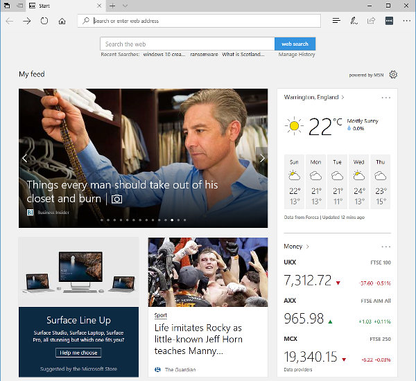 how to change the start page in edge