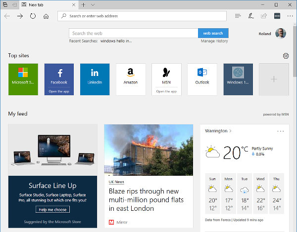 The new tab page in Microsoft Edge showing the top sites and feed