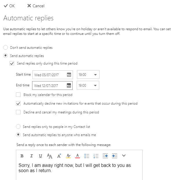 Set up an automatic email response at the outlook.com website