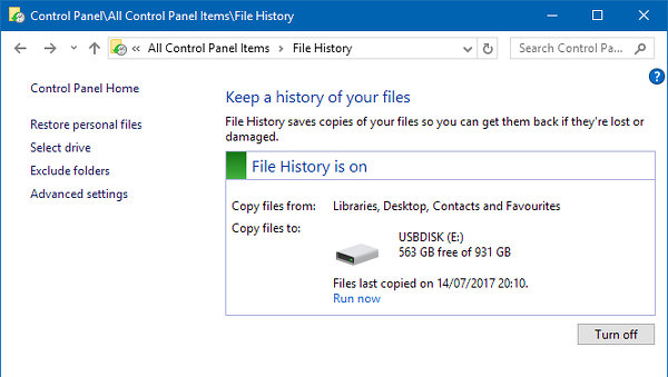 Configure File History backups in Windows