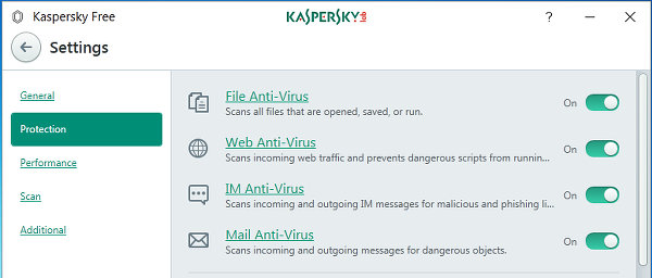 Kaspersky Free antivirus for Windows settings