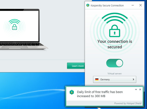 Kaspersky Secure Connection is a VPN for Windows users