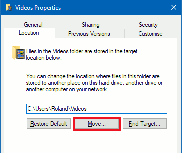 Move the Videos folder in Windows to a new location