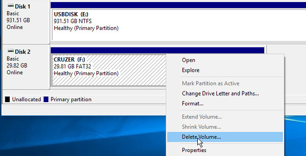 Use Disk Management in Windows to view disk partitions or delete them