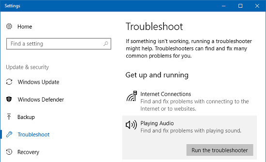 Troubleshooters in the Windows 10 Settings app