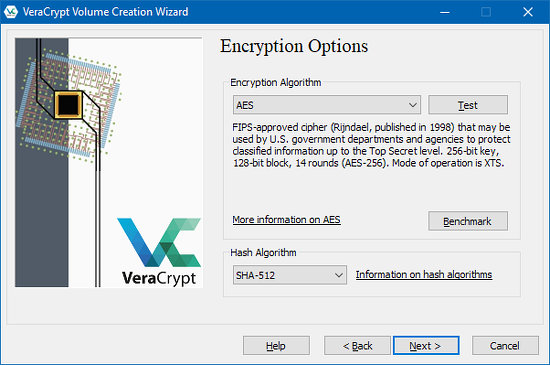 Select the encryption method in VeraCrypt for Windows