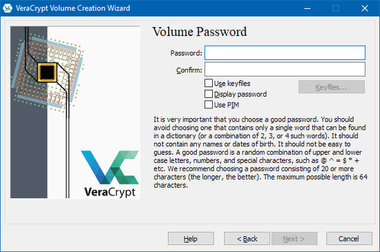 Create a password for the disk encrypted by VeraCrypt