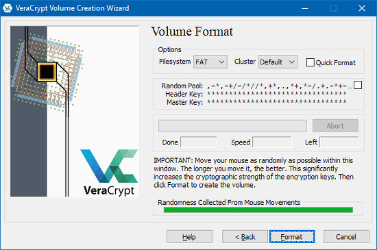 Format the encrypted disk using VeraCrypt for Windows