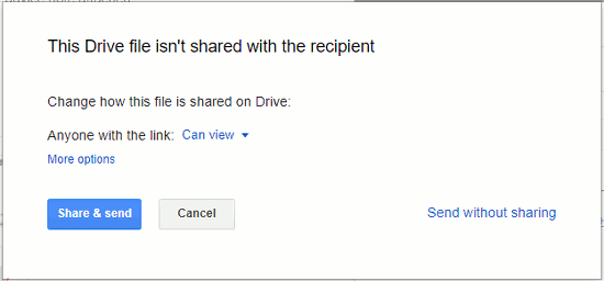 Send a link to a file on Google Drive