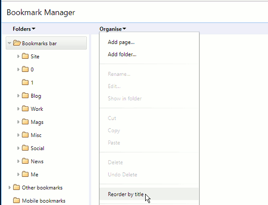 Sort bookmarks into alphabetical order in Chrome using the bookmarks manager