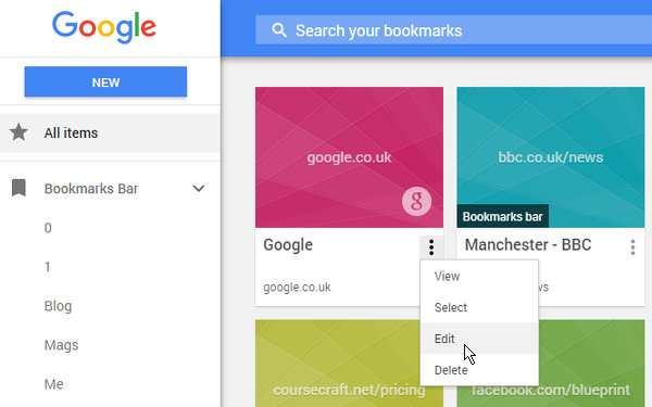Google Bookmarks Manager extension for Chrome