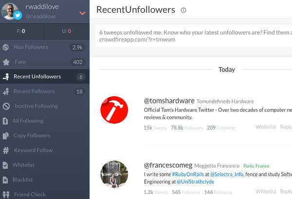 See recent unfollowers on Twitter using Crowdfire