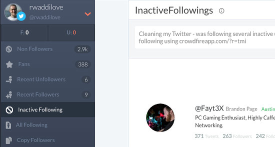 See inactive people you are following on Twitter with Crowdfire