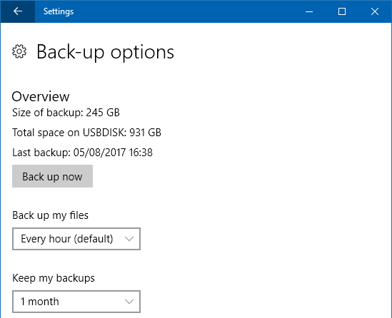 Windows File History options in the Settings app