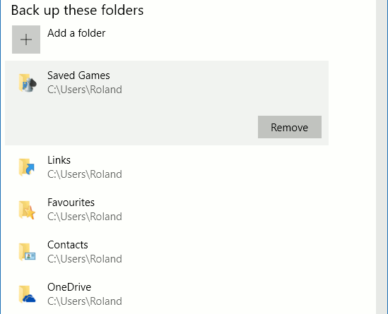 Choose which folders are backed up by Windows File History in the Windows 10 Settings app