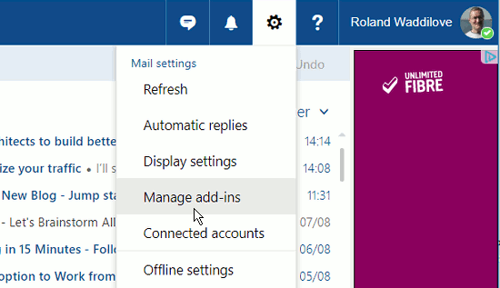 Ooutlook.com menu showing Manage add-ins