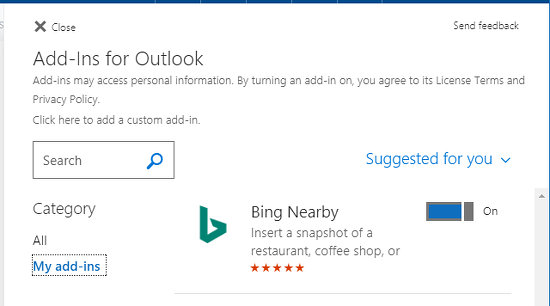 View a list of email add-ins at outlook.com