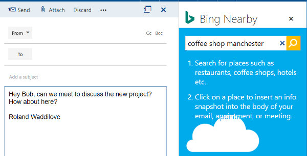 Bing Nearby outlook.com email add-in