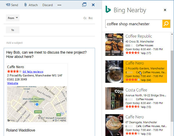 Use Bing Nearby to find places nearby to meet